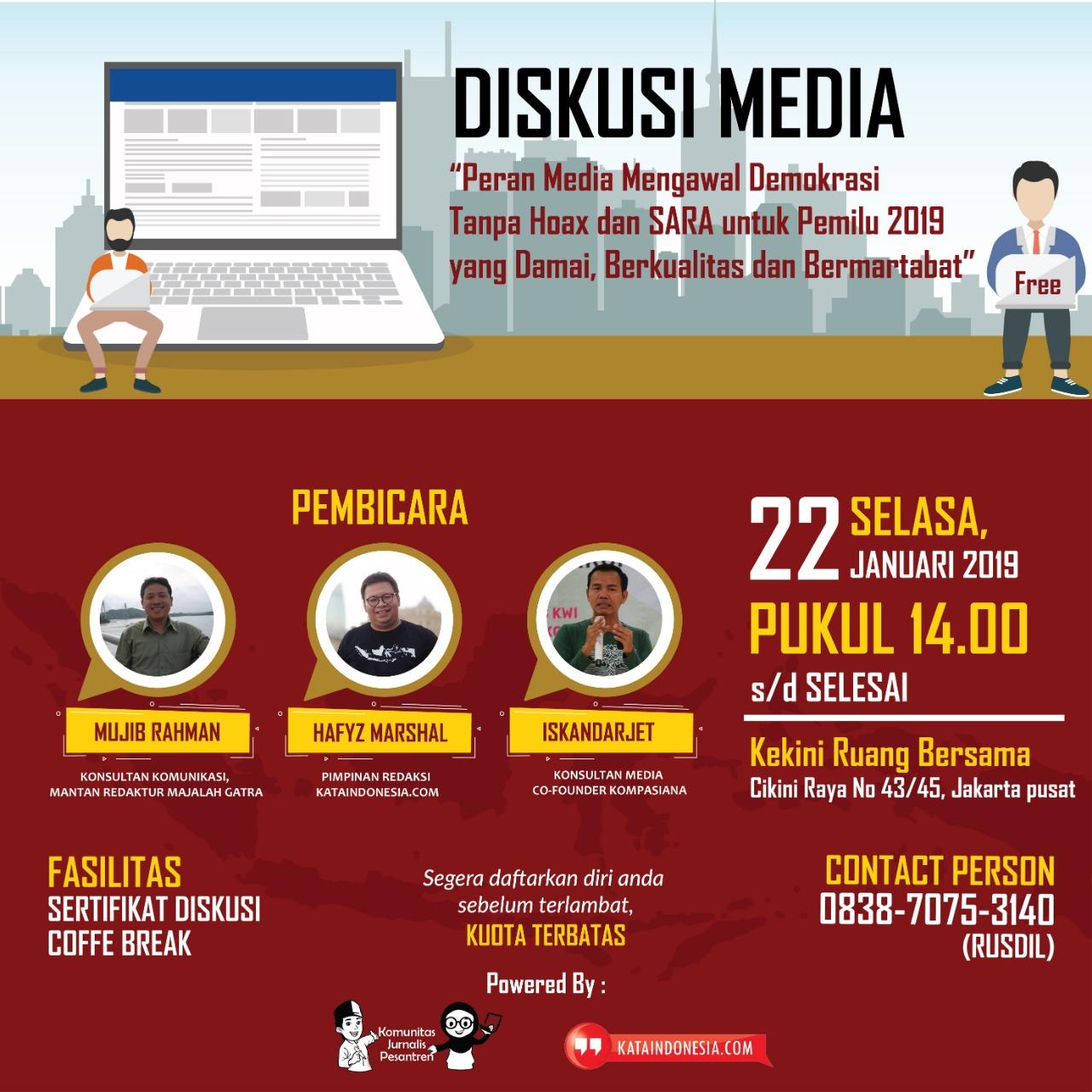 Komunitas Jurnalis Pesantren Akan Selenggarakan Seminar Literasi Media Dan Deklarasi Pemilu Damai dan Anti Hoax di Cikini Jakarta Pusat