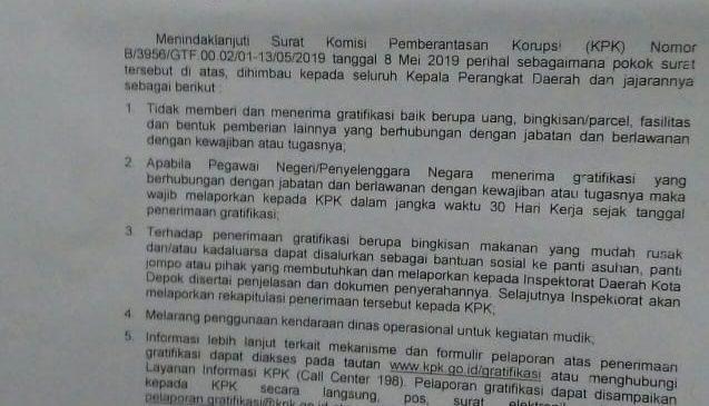 Jelang Idulfitri, ASN Pemkot Depok Dilarang Terima Gratifikasi