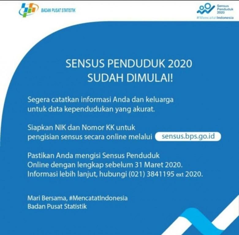 Sensus Penduduk 2020 Bisa Dilakukan Secara Online dan Offline