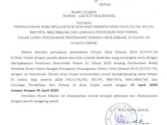 Depok Memperpanjang Libur Sekolah Sampai 30 April